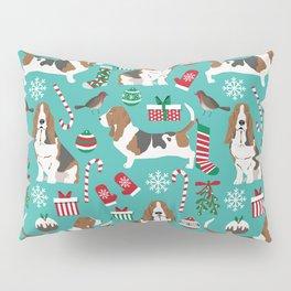 Basset Hound christmas pattern print pet friendly dog breed art for holiday decor Pillow Sham