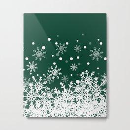 Snow Green Background Metal Print