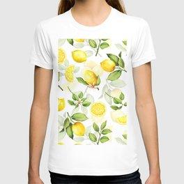mediterranean summer lemon branches on white T-shirt