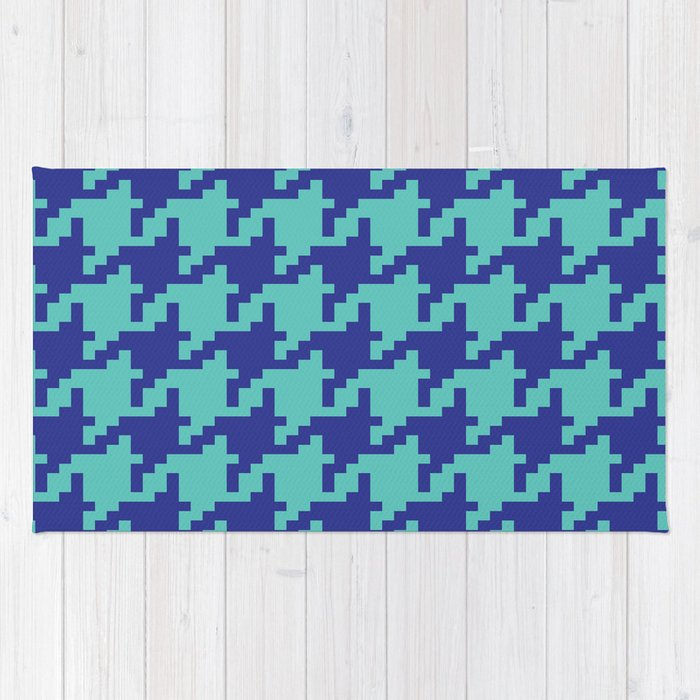 Houndstooth - Blue & Turquoise Rug