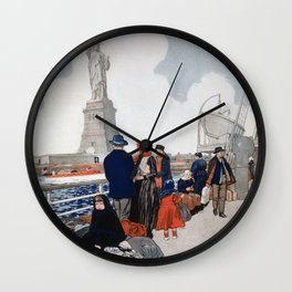 Vintage Immigrants & Statue of Liberty Illustration (1917) Wall Clock