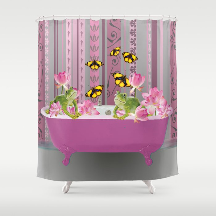 BathtubLotos Flowers Frogs with orange butterflies  Shower Curtain
