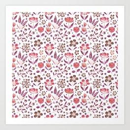 Pink & Puple Flower Pattern Art Print