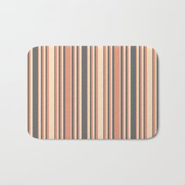 Bisque, Dark Salmon, and Dim Grey Colored Lined/Striped Pattern Bath Mat