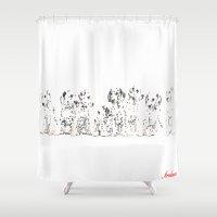 puppies Shower Curtains featuring Cachorros de dálmata  ( Dalmatian puppies ) by arnedayan
