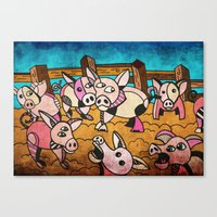pigs Canvas Prints featuring Pigs by Matt Jeffs