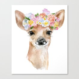 Deer Fawn Floral Watercolor Canvas Print