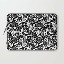 Funky Vintage Floral // Monochrome Black and White // Color Your Own Flower Garden Laptop Sleeve