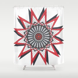 Geometric Eye with a Red and Black Star Shower Curtain