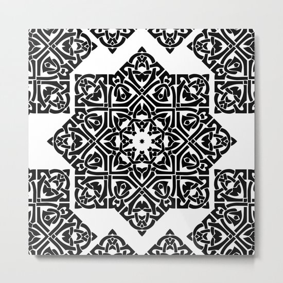 Celtic Knot Ornament Pattern Black and White Metal Print