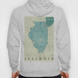 Illinois State Map Blue Vintage Hoody