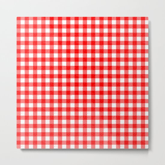 Gingham Red and White Pattern Metal Print