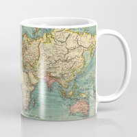 vintage map Mugs featuring Vintage map by Hipster's Wonderland