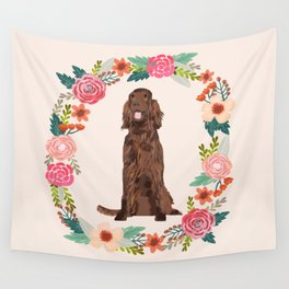 irish setter floral wreath spring dog breed pet portrait gifts Wall Tapestry