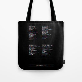 Daft Punk Discography in Colour Code (Dark) - Music in Colour Code Tote Bag