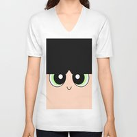 powerpuff girls V-neck T-shirts featuring Buttercup -The Powerpuff Girls- by CartoonMeeting