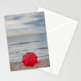 Red Umbrella lying at the beach III Stationery Cards