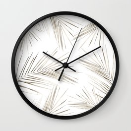 White Gold Palm Leaves on White Wall Clock