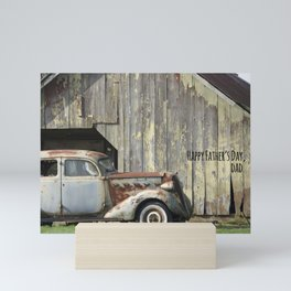 Happy Father's Day Dad Vintage Automobile and Weathered Barn Mini Art Print