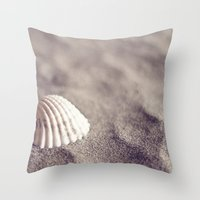 seashell Throw Pillows featuring Seashell by Dena Brender Photography
