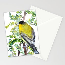Lesser Goldfinch Bird Watercolor Art Stationery Cards