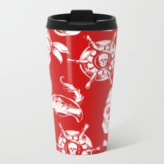 Red Pirate Pattern Metal Travel Mug