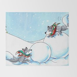 Snowman Building Throw Blanket