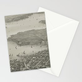 Vintage Pictorial Map of Lake Geneva WI (1882) Stationery Cards