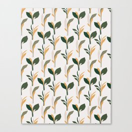 Mid Century Modern - Tropical Palm Leaves Pattern Canvas Print