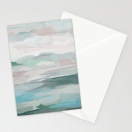 Sage Green Sky Blue Blush Pink Abstract Nature Sky Wall Art, Water Land Painting Print Stationery Cards