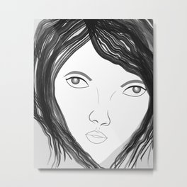 Female face black and white Metal Print