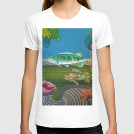 Mariana Trench Sea Bottom landscape with fish, seashells, and starfish by Hilaire Hiler T-shirt