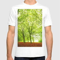 Lovly Green Forest Mens Fitted Tee White MEDIUM