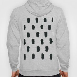 Black and White Abstract Blob Brush Stroke Pattern Hoody