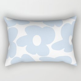 Large Baby Blue Retro Flowers White Background #decor #society6 #buyart Rectangular Pillow