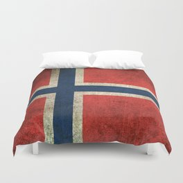Old and Worn Distressed Vintage Flag of Norway Duvet Cover