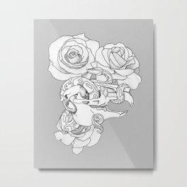 Lagomorph Skull and Snake Metal Print