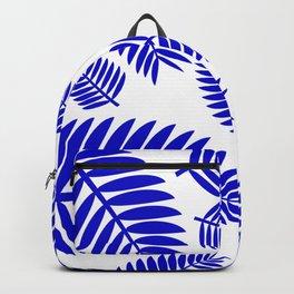 Blue Leaves Ferns Pattern Backpack