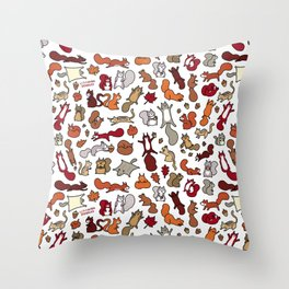 Squirrels in Fall Doodle Throw Pillow