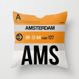 AMS Amsterdam Luggage Tag 2 Throw Pillow