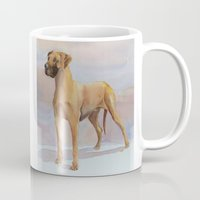 great dane Mugs featuring Great dane - yellow by Doggyshop