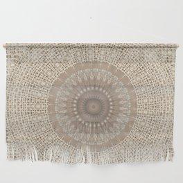Unique Texture Taupe Burlap Mandala Design Wall Hanging