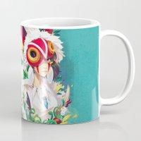 princess mononoke Mugs featuring Princess Mononoke by Stephanie Kao