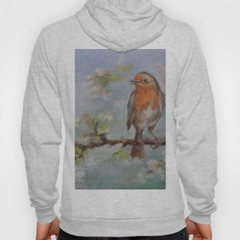 Red Robin Small bird on a blooming twig Wildlife spring scene Pastel drawing Hoody