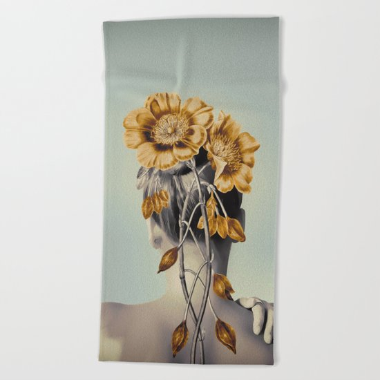 WOMAN WITH FLOWERS 2 Beach Towel