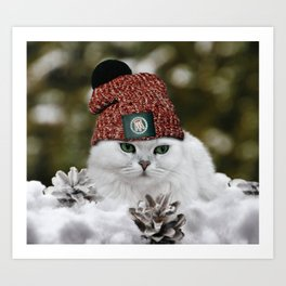 The cat in a hat (white snow) Art Print