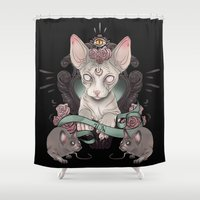 sphynx Shower Curtains featuring Sphynx - Dark by AlchemyArt