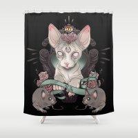 sphynx Shower Curtains featuring Sphynx - Dark by AlchemyArt