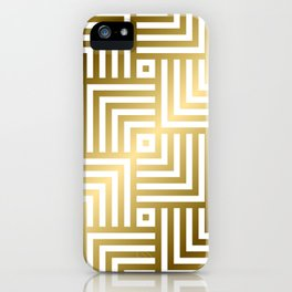 Art Deco Gold and Porcelain White Geometric Pattern iPhone Case