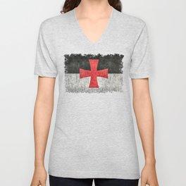 Knights Templar Symbol in grungy textures Unisex V-Neck